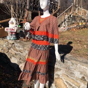 Vintage Clyde peasant skirt dress elastic 2 piece